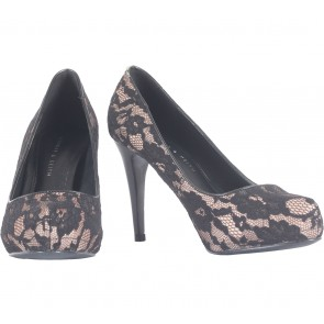 Charles and Keith Black Lace Heels