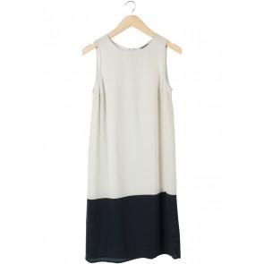 Topshop Cream And Dark Blue Sleeveless Midi Dress