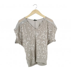 Express Brown Sequin Blouse