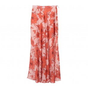 Topshop Pink And Orange Floral Slit Skirt
