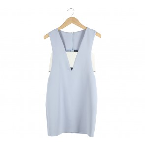 Shop At Shopee Light Blue And Off White Mini Dress