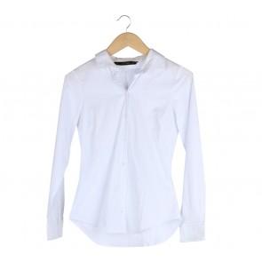 Zara White And Blue Striped Shirt