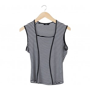 Marks & Spencer Black And White Striped Sleeveless