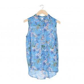 H&M Blue Floral Sleeveless