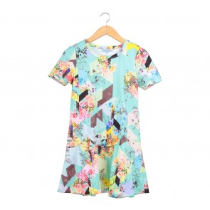 Chic Simple Multi Colour Floral Peplum Midi Dress