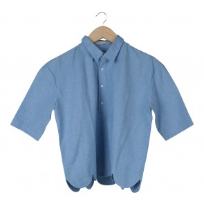 Cotton Ink Blue Scalloped Blouse