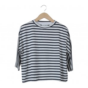 Cotton Ink Dark Blue And White Striped T-Shirt
