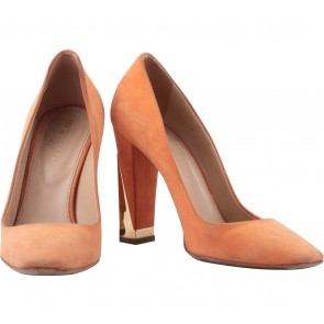 Sergio Rossi Orange Suede Heels
