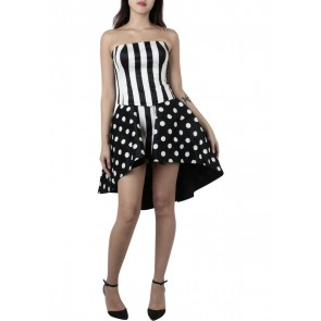 Askiasan Black And White Striped Tube n Polkadot Skirt Two Piece
