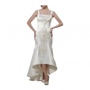 Askiasan White Lace Applique Gown Midi Dress
