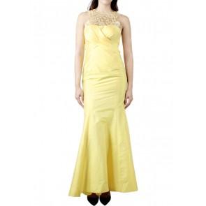 Askiasan Yellow Drapped Mermaid Long Dress