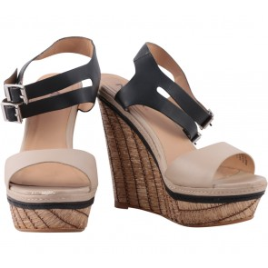 Mia Cream Ankle Strap Wedges