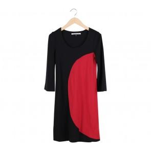 Diane Von Furstenberg Black And Red Colorblock Midi Dress
