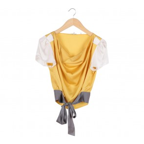 Elie Tahari Yellow And White Blouse