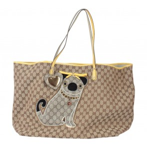 Gucci Brown And Yellow Pug Dog Large Canvas & Leather  Tote Bag