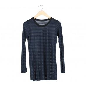 Zara Dark Blue And Black Striped Sheer Blouse