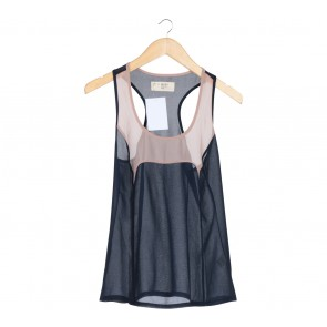 (X)SML Dark Blue And Cream Colorblock Sleeveless
