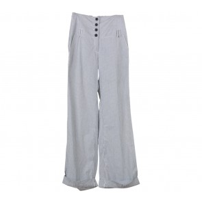 Mango Black And White Striped Pants