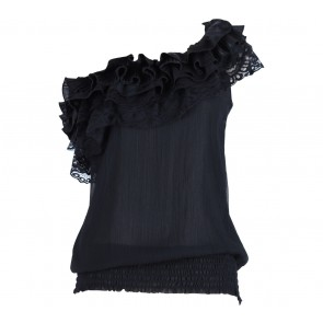 Bebe Black One Shoulder Ruffles Sleeveless