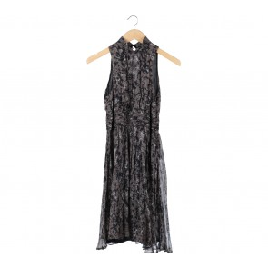 Zara Grey And Black Floral Cut Out Midi Dress