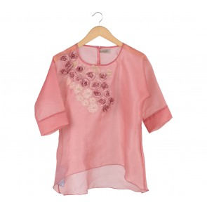 Binar Pink Floral Embroidery Blouse