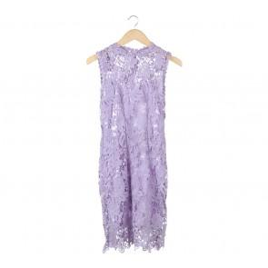Lookboutiquestore Purple Floral Lace Sleeveless Midi Dress