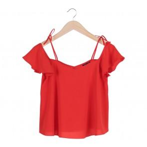 Topshop Red Sabrina  Blouse