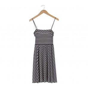 Mango Cream And Dark Blue Striped Mini Dress