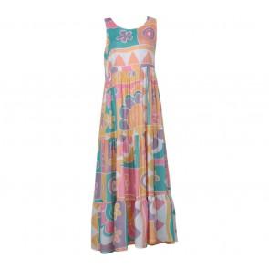 Dian Pelangi Multi Colour Floral Long Dress