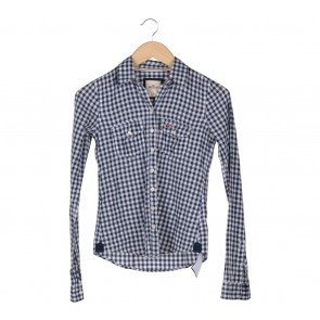 Hollister Dark Blue And White Square Pattern Shirt