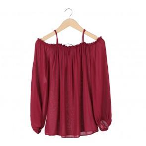Zara Red Off Shoulder Blouse