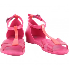 Melissa Pink And Orange Ankle Strap Flats