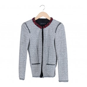 Zara Black And White Knitted Blazer