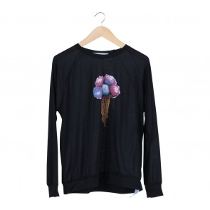 Oneandahalf Black Ice Cream Blouse