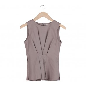 (X)SML Brown Peplum Blouse