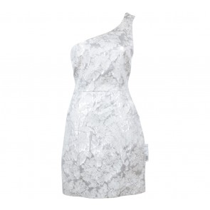 Forever 21 Silver And Cream Floral One Shoulder Mini Dress