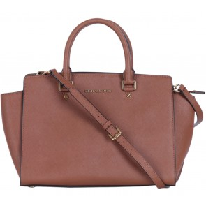 Michael Kors Brown Trapeze Selma Leather Satchel