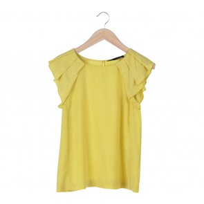 Zara Yellow Pleats Blouse