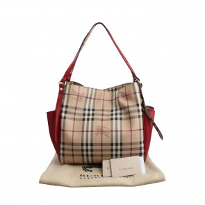 Burberry Red Haymarket Panels Small Canterbury Tote Bag