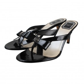 Christian Dior Black Patent Leather Sandals