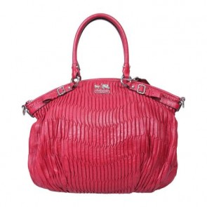 Coach Red Madison Gathered Leather Tote Bag
