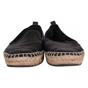 Fendi Junia Croc-Embossed Cap-Toe Espadrilles Flats