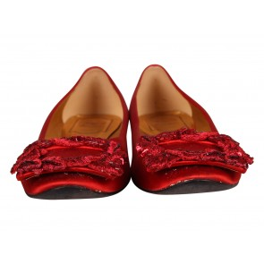 Roger Vivier Red Gommette Square Embroidered Buckle Satin Flats