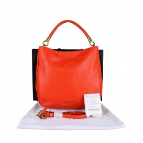 Marc By Marc Jacobs Red Pebbled Leather Hobo Shoulder Bag