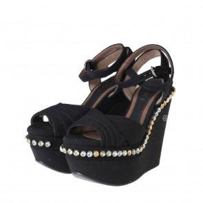 Marni Crystal Black Embellished Wedges