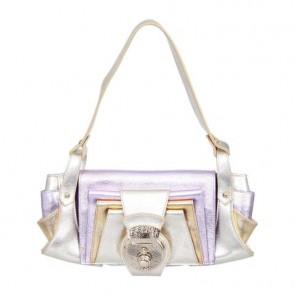 Fendi Purple And Gold Metallic Zucchino Tote Bag