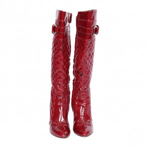 Burberry Maroon Patent Quilted Heel Boots