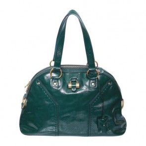 Yves Saint Laurent Green Medium Patent Muse Tote Bag