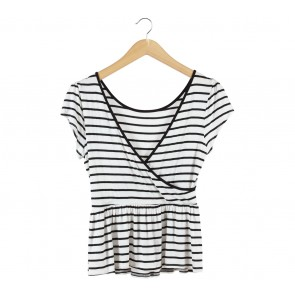 Forever 21 White And Black Striped Backless Blouse
