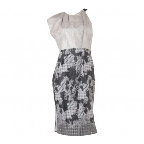 Grey And Black Batik Midi Dress